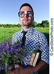 homme, lunettes