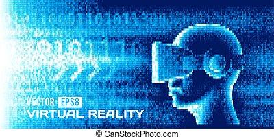 homme, lunettes, réalité virtuelle