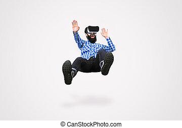 homme, lunettes virtuelles, réalité