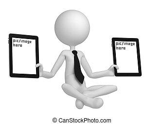 homme, médite, tablette, ordinateurs gestion