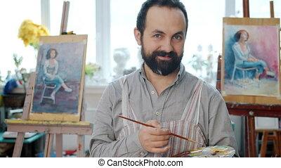 homme mûr, palette, portrait, beau, studio, tenue, arts, pinceau