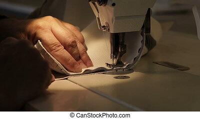 homme, machine., couture, travaux