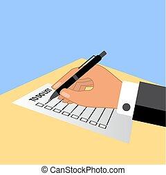 homme, main, à, stylo, écriture, plans, dans, faire, list.
