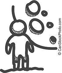 homme, main, croquis, dessin, arrière-plan., lune, vecteur, illustration., dessiné