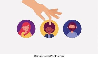 homme, main, groupe, sélectionner, gens