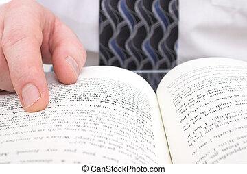 homme, main, livre