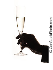 homme, main, verre, champagne