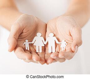 homme, mains, papier, famille, womans