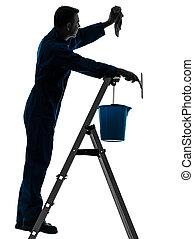 homme, maison, ouvrier, concierge, nettoyage, nettoyeur fenêtre, silhouette