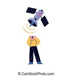 homme, mal tête, au-dessus, 5g, satellite, fllying, sentiment