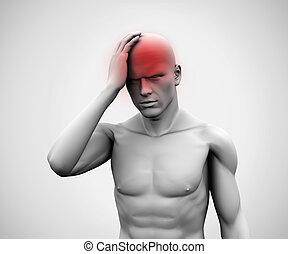 homme, mal tête, numérique, blanc
