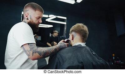 homme, male., process., barbe, rasage, émondage, coiffeur, ...