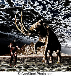 homme, mammouth, préhistorique