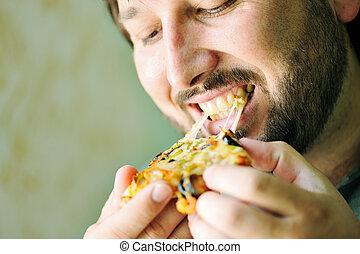 homme, manger, jeune, pizza