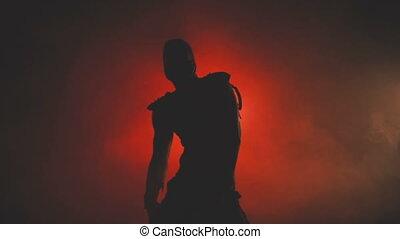 homme masque, silhouette, danse