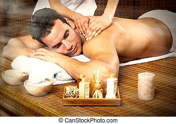 homme, massage., avoir