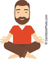 homme, meditating.