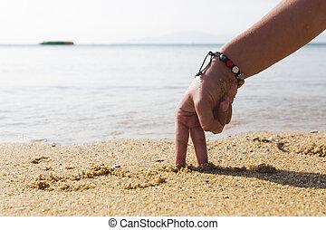 homme, -, mer, main