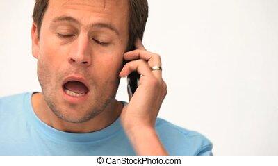 homme, mobile, téléphoner, sien