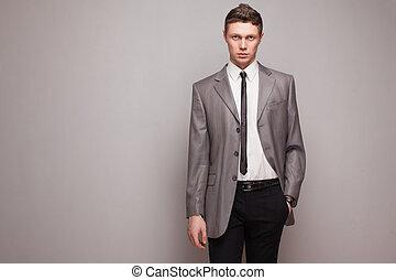 homme, mode, gris, complet