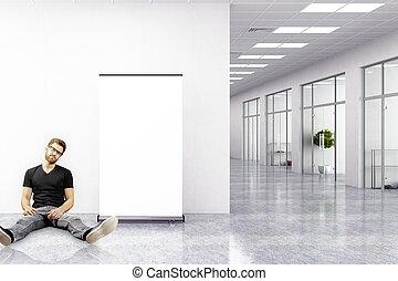 homme, moderne, bureau, séance