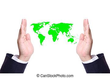 homme, mondiale, sauver, business, main