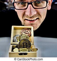 homme, monnaie, bitcoin, or, lunettes