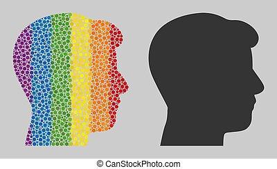 homme, mosaïque, points, spheric, profil, icône, tête, spectre
