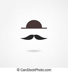 homme, moustache, icône