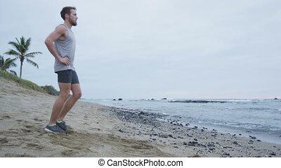 homme, mouvements, exercice, séance entraînement, fitness