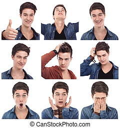 homme, multiple, expressions, jeune