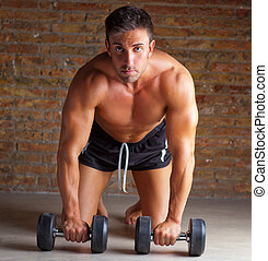 homme muscle, formation, formé, poids, genoux