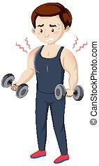 homme, muscle, séance entraînement, avoir, douleur