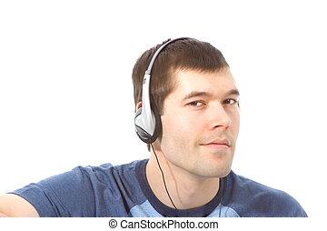 homme, musique écouter, casque