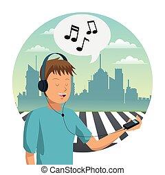 homme, musique, jeune, écouter