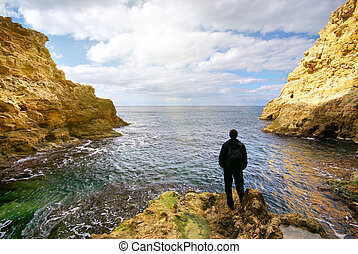 homme, nature., composition, grotto.