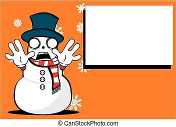 homme neige, dessin animé, background1, noël