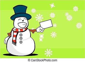 homme neige, noël, dessin animé, background2