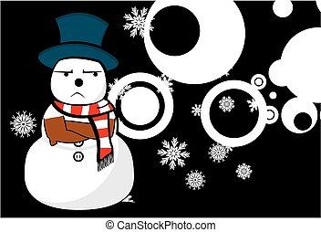 homme neige, noël, dessin animé, background8