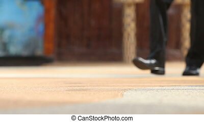 homme, noir, chaussures, pantalon