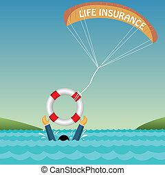 homme, noyade, soutenu, par, tube, parachute, assurance