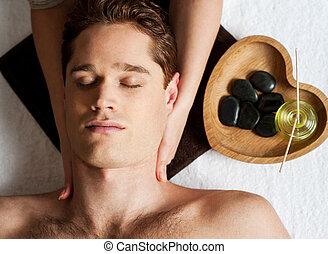 homme, obtenir, jeune, masage, figure