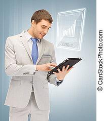 homme, ordinateur pc, tablette, heureux