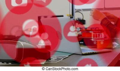 homme, ordinateur portable, caucasien, icônes, animation,...