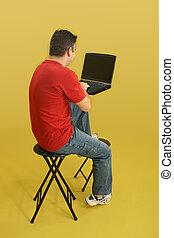 homme, ordinateur portable