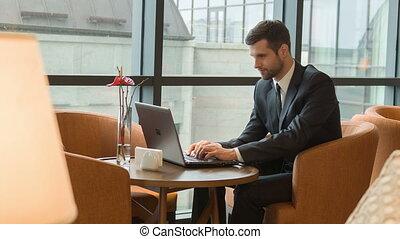 homme, ordinateur portable, travail, business, temps