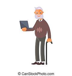 homme, ordinateur portable, vieux