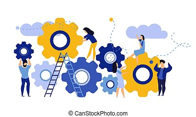 homme, organisation, teamwork., développement, concept, engrenage, coopération, main-d'oeuvre, illustration, cercle, compétence, bannière, person., collègue, groupe, mécanisme, structure, business, compagnie, vecteur, processus, femme, métier