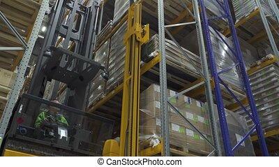 homme, ouvrier, carton, voiture, déchargement, marchandises, élévateur, entrepôt, utilisation, exportation, transnational