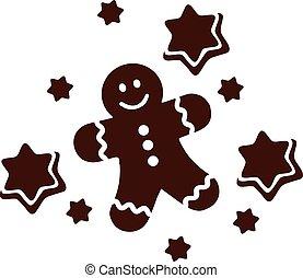 homme pain épices, à, petit gâteau, étoiles